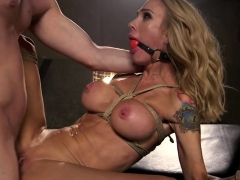 Stunning submissive gagging while pussyfucked