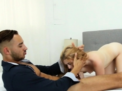 Slutty blonde beauty got her mouth fucked full the right way