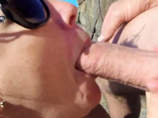 Mature beach blowjob