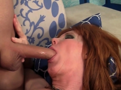 Mature slut sucks a long and stiff cock so good Then takes