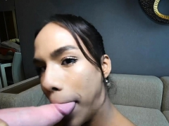 Sexy ladyboy sucks and fucks a white guy in his ass