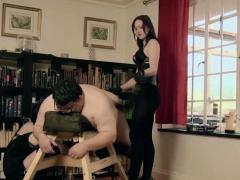 Hot Slave Femdom Handjob With Cumshot