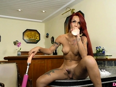Horny Tgirl Sucks A Dildo And Shoots Selfies With It She