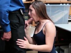 Desperate Shoplifter Hayden Henessy sucks LP huge cock