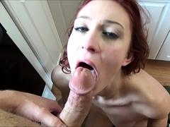 Redhead gf in hot amateur POV facial video
