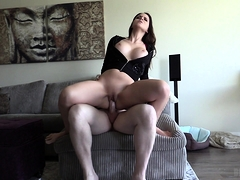 POV blowjob with busty brunette skank