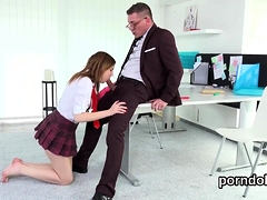Natural Bookworm Was Teased And Fucked By Elderly Mentor