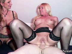 GERMAN MOM AND AUNT HELP STEP SON WITH FIRST FUCK