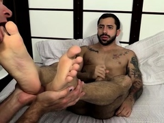 Exposed gays in deep foot fetish oral sex play on web camera