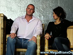 Bi sluts in group orgy sucking