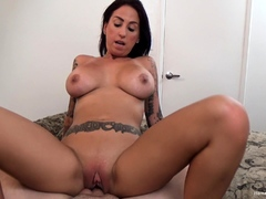 Tattooed amateur with huge boobs masturbates then fucks