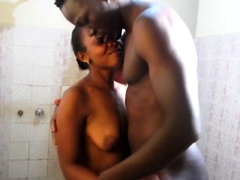 Real Black Amateur Couple Shower Fuckin'