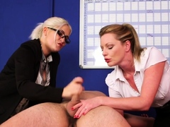 Blonde office cfnm british mistresses
