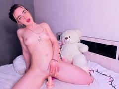 Masturbating loving babe solo toy plays with enthusiasm
