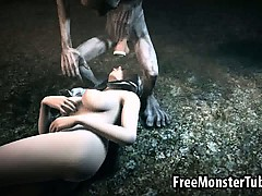 Foxy 3D babe gets fucked in the woods by Gollum