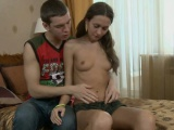 Gorgeous babe delighting chap with blow job