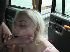 Massive boobs customer banged and facialed in the cab