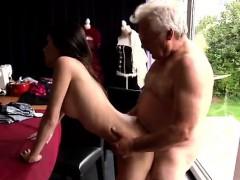 Horny senior Bruce catches sight of a super-cute gal sitting